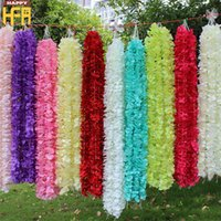 Wholesale Hanging Flowers String - Artificial Flowers Wedding Decorations Silk Flowers Wedding Simulation Ocean Orchid Flower String Hydrangeas 1M Wall Hanging Strings