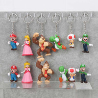 Wholesale Mario Action Key Chains - 6pcs set 3-7cm 3inch Super Mario Bros Action Figure keychain Key Chain For Christmas Gifts