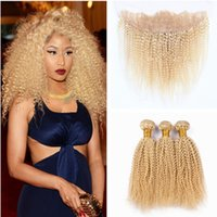 Wholesale 613 Kinky Curly Hair - #613 blonde human hair and lace frontal 13*4 unprocessed hair afro kinky curly 3pcs hair bundles with ear to ear lace frontal closure