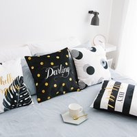 Wholesale Sofa Cushions Covers Material - Scandinavian Simple Cushions Home Decor Black And White Gold Style Cushion Covers For Sofa Plush Material Geometry Chair Cushion