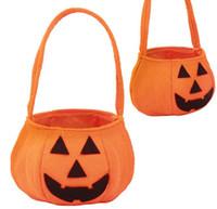 lustige handtaschen großhandel-Süßes sonst gibt's Saures Hallowen Lächeln-Kürbis-Taschen-Kindersüßigkeits-Tasche Lustige nette Süßigkeits-Handtaschen-Haushalts-Organisatoren