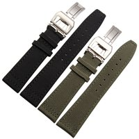 Wholesale 22mm Nylon Watch Bands - Free Shipping 20mm 21mm 22mm NEW Black Green Nylon and Leather Watch Band strap For IWC watches