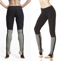 pantalones de yoga gris mujer al por mayor-Dry Fit Yoga Stirrup Pant Súper elástico Skinny Fitness Gym Running mallas de cintura alta Sports Leggings Gray empalme Black Women