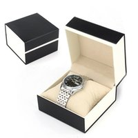 Wholesale Single Watch Display - New Design Single Watch Box Gift Box Black Pater Wrist Watch Box Display Boxes with Pillow Drop Shipping