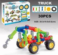 blocos pré-escolares venda por atacado-Vara Bloco de Construção Conjuntos 30 pcs Carro Desbloqueio Assembléia Bloco Puzzle Brinquedo Idade 3 + Pré-escolar Brinquedos Educativos para Crianças