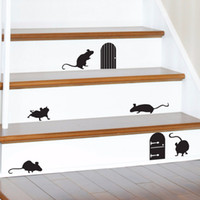 Wholesale happy mouse - Happy Halloween Animal Mice Doors Silhouettes Living Room Vinyl Carving Wall Decal Sticker for Holiday Party Home Window Decor