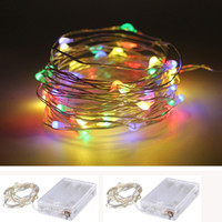 Wholesale Changeable Candles Led - 2M 3M 4M 5M LED Copper Wire String Fairy lights AA Battery Operated Christmas Holiday Wedding Party Decoration Festi lights