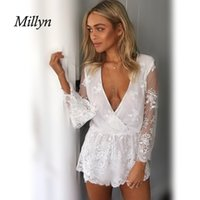 Wholesale Lace Short Overalls - Millyn Ideas Sexy deep v neck white lace elegant jumpsuit romper Summer style beach short playsuit Women guaze boho overalls