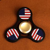 Wholesale National Flag Big - Newest Trendy Tri-Spinner US America National Flag EDC Game Hand Spinner Metal Fidget Spinner Autism ADHD Anxiety Stress Relief Focus Toys