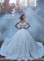 Ball Gowns online - Luxury Lace Ball Gowns Wedding Dresses Sexy V-neck off Shoulder Bridal Gowns Chapel Train Robe Mariage