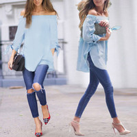 Wholesale Strapless Loose Tops - Sexy Off Shoulder Summer Women Blouse Shirt Bow-knot Long Sleeve Tops Plus Size Loose Split Casual Slash Neck Strapless Blusas