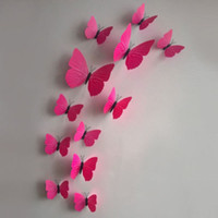 Wholesale Wall Sticker Natural - Free shipping 12 24 PCS 3D Butterfly Sticker Art Design Decal Wall Stickers Home Decor Room