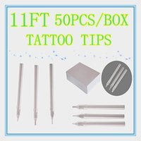 Wholesale disposable tattoo tips long - Wholesale-Box Of 50 Flat Size 11FT white Disposable Long Tattoo Tips Nozzle Supply HLDT-A-11FT
