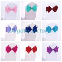Wholesale Elastic Band Trim - Elastic Organza Chair Covers Sashes Band Wedding Bow Tie Backs Props Bowknot Spandex Chairs Sash Buckles Cover Back Hostel Trim Pink 2 8sk