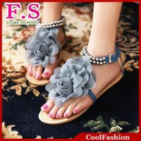 Grande taille 26-62 Bohemia Nice Sandales Femme Beaded Flower FLat Flip-flop Flats Chaussures pour femmes XIE116