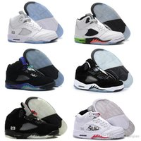 Wholesale Red Cdp - High Quality Retro 5 OG Black Metallic 3M Reflect Basketball Shoes Men Women 5s CDP Premium Triple Black White Cement Sneakers With Box