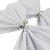 Vente en gros - 4pcs / lot Diamond Crystal Clear Bow Serviette Anneau Wedding Party Favoriser la décoration de table