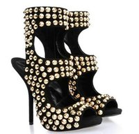 Wholesale Shoe Shallow Fish - HOT!! 2016 high quality Summer fish mouth black gold zipper hollow nail test with sandals punk shallow mouth for women's shoes