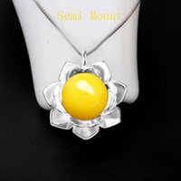 Wholesale 925 Pearl Flower Necklace - Fine Silver 12mm Round Bead or Pearl Semi Mount Pendant 925 Sterling Silver Jewelry Setting