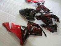 satılık zx kaplama toptan satış-Kawasaki Enjeksiyon kalıplama ZX 10R 2004 için sıcak satış kaportalar 2004 karoser ZX 10R 04 05 siyah kırmızı alevler kaporta kiti ZX10R WD45