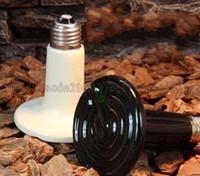 pet ısı lambaları toptan satış-Kızılötesi Seramik ısı lamba lambaları kızılötesi ampul ışık (Sürüngen / pet / amfibi / kümes hayvanları) 220 V veya 110 V 50--250 w ücretsiz kargo MYY