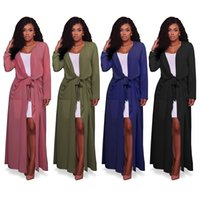 Wholesale Women S Cardigans Cheap - Women's Long Sleeve Cover Up Lightweight Long Loose Chiffon Maxi Cardigan With Pockets   4 Color S-XXL   Wholesale Cheap DHL Fast Shipping