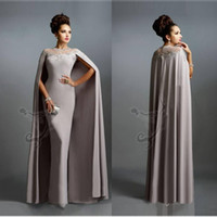 Wholesale Cheap Green Ribbon - Sexy Formal Evening Dresses 2016 Elie Saab Gray With Cape Ruffles Lace Edged Cheap Long Sheer Prom Party Gowns Evening Wear Dress