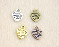 Wholesale Pictures Making Love - Wholesale- 30pcs 10mm Best Selling 4 colors as pictured made with love charms
