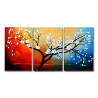 Wholesale 12x18 Wood Picture Frame - 100% Hand-Painted Oil Paintings Budding Blooming White Flowers Modern Abstract Contemporary Floral Artwork Stretched Wood Framed Ready To Ha