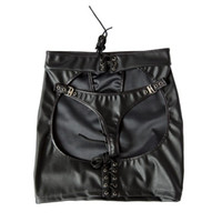 Wholesale Adult Skirts - Fashion PU Leather Sexy Lingerie Hot Bondage Exposed Spanking Skirt Big Butt Sexy Costumes Sex Toys For Women Adult Games q0506