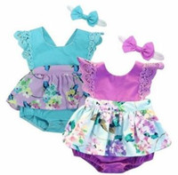 Wholesale Girls Pettiskirt Sets - Girls Floral INS Rompers Dress Baby Clothing Sets Kids Flower Onepieces Headband Bowknot Printed Pettiskirt Romper Kids Summer Outfits J404