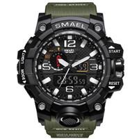 mostrar reloj deportivo al por mayor-2017 NUEVA Pantalla Dual Digital Ronda Dial Reloj Resistente al Agua Grande Schoole Hombres Deportes Smael Reloj Envío de La Gota
