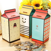 Wholesale Milk Coin Box - New creative milk shape DIY storing coin box   piggy bank   money saving box for kids gifts