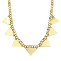 Wholesale Gold Triangle Spiked Necklace - Statement Necklace Gold Color Alloy Spike Triangle Steampunk Style Choker Necklace Fashion Jewelry For Women
