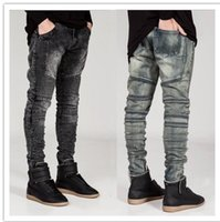 Wholesale Hiphop Jeans For Men - Wholesale Men Skinny Jeans Men Runway Casual Slim Racer Biker Jeans Brand Clothing Trousers Pants Strech Hiphop Jeans For Men