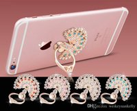 Wholesale Peacock Screen - Peacock open - screen metal diamond multi - functional lazy paste mobile phone ring Fashion Universal Mobile Phone Ring Stent Cell Phone Rin