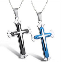 Wholesale Multi Layer Cross Necklace - JLN Multi Layers Fashion Gothic Cross Alloy Pendant Necklace