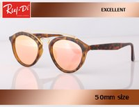 Wholesale Lentes Vintage - Rlei di new Great Quality glass lens Sunglasses Round Vintage Steampunk Glasses Men Women Gold Double Bridge lentes de sol hombre oval gafas