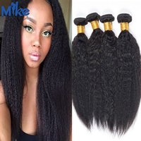MikeHAIR 4 paquetes Pelo brasileño Kinky Straight Raw Cabello humano natural 8-30In sin procesar Peruvian Indian Malaysian Hair puede ser teñido