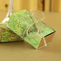 Wholesale 50Pcs Map Favor Boxes Travel Theme AerWo Wedding Party Decoration Vintage Box Gift Supplies for Travel Themed