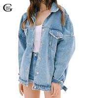 Wholesale Denim Girls Jacket - Wholesale- Lace Girl Women Jeans Jackets Fashion 2017 Spring Autumn Long Sleeve Denim Coat Ripped Chaquetas Mujer Casual Denim Jackets