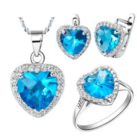 Wholesale Ocean Heart Jewelry Sets - 925 Sterling Silver pendant Earrings ring Women Gift word Jewelry sets NEW platinum plated of ocean heart micro custom silver jewelry