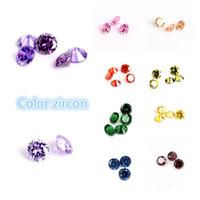 diamante redondo de 6mm venda por atacado-Atacado super alta qualidade cor zircon rodada 4-6mm artificial gem imitação diamante diy material de jóias CA332