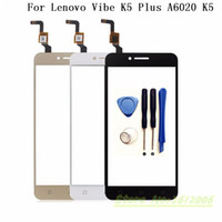 Wholesale Lenovo Digitizer Glass - Wholesale- 5.0 inch Touch Screen Digitizer For Lenovo Vibe K5 Plus A6020 Vibe K5 Front Glass Sensor Touch Screen Panel Replacement+tools