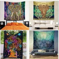 Wholesale Yoga Pad Mattress - Indian Elephant Mandala Tapestry Hippie Wall Hanging Tapestries Beach Towel Yoga Mat picnic blanket 150*130cm outdoor Pads