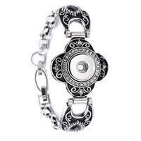 Wholesale Cuff Button Silver - 10Pcs mixed styles interchangeable 18mm women's vintage DIY snap charm button cuff bracelets noosa style Jewelry