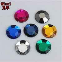 Wholesale Wholesale Acrylic Gems Flat Back - 100PCS 14mm Crystal Round Acrylic Rhinestones Flat Back Beads Gem Craft ZZ140