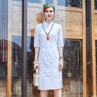 Wholesale Monochrome Dresses - Nice The 2017 summer pattern zipper cheongsam monochrome jacquard dress casual China wind all-match cotton dress