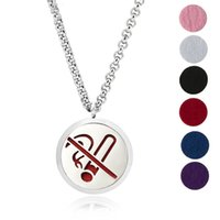 Wholesale Hypoallergenic Pendant Necklace - Aromatherapy Essential Oil Diffuser Necklace Jewelry -30mm Hypoallergenic 316L Surgical Grade Stainless Steel(Send Chain and 6 Felt Pad) Y4