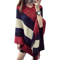 Wholesale Knit Sweater Patterns Women - Wholesale- 2016 Fashion women Poncho Cape-style pullover sweaters striped pattern oversized sweaters female pull femme sweter mujer